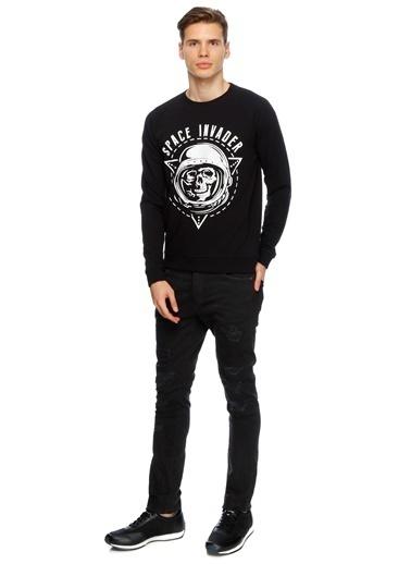 T-Box Uzun Kollu Sweatshirt Siyah